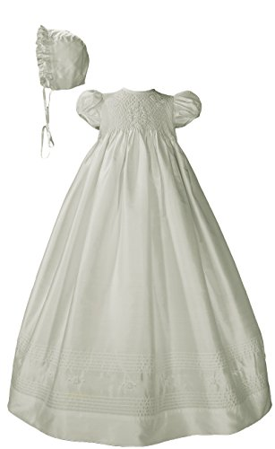 Little Things Mean A Lot Girls White Silk Dress Christening Gown Baptism Gown with Smocked Bodice 6M -