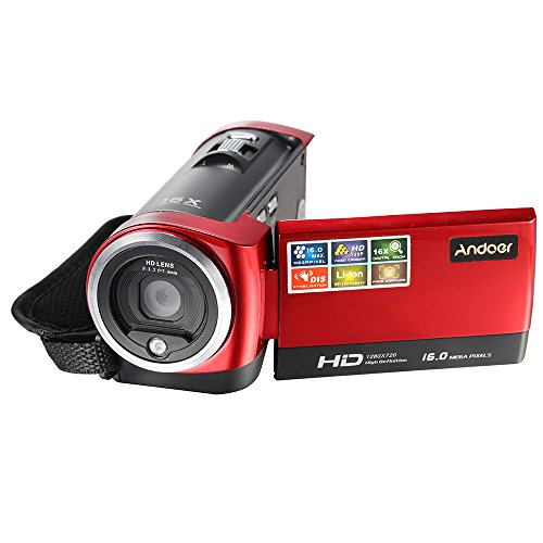 Andoer HDV-107 Digital Video Camcorder Camera HD 720P 16MP DVR 2.7'' TFT LCD Screen 16x ZOOM by Andoer