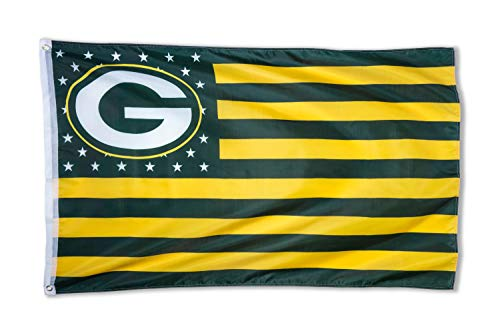 WHGJ NFL Green Bay Packers 3X5 FT USA Flag Banner in Door and Out Door]()
