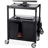 Safco Products 8943BL Steel Adjustable AV Cart with Locking Cabinet, Black