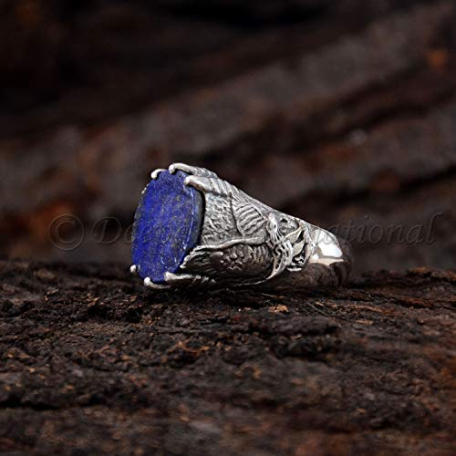 Lapis Lazuli Bird - Solid 925 Sterling Silver Flat Lapis Lazuli Natural Gemstone Silver Oxidized Eagle Bird Handmade Mens Womens Ring Mens Birthday Bird Ring