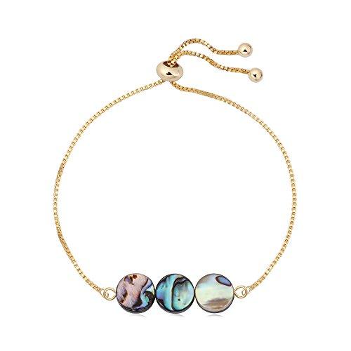 SENFAI Abalone Shell Beaded Bracelet Charming Hand Accessory for Women Adjustable 10
