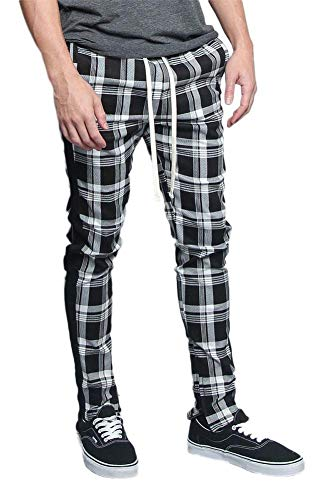 Men's Plaid Checkered Tartan Outer Side Stripe Inseam Ankle Zipper Drawstring Premium Track Pants TR537 - Black - 2X-Large - JJ5E ()