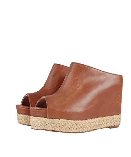 Jeffrey Campbell Virgo Brown Sandal–Sandalias Marrones de piel marrón