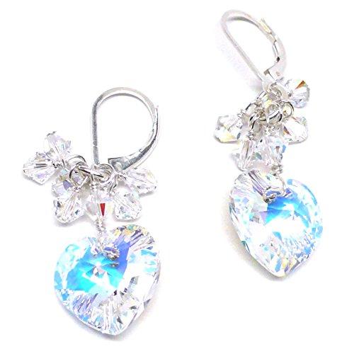 - 14x14mm Austrian Crystal Heart Clear AB Cluster Drop Earrings Sterling Silver