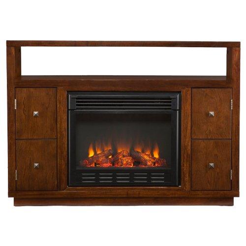 Southern Enterprises Brentford Dark Tobacco Electric Fireplace Media Console