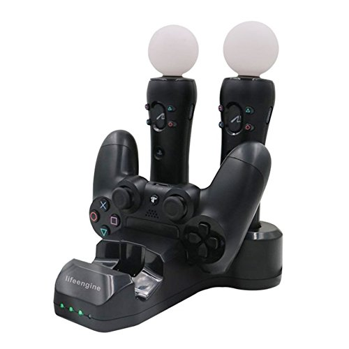 Charging Station 4 in 1 charging dock for PS4 Controller Play Station 4 Game Controller PS Move Controller 4 Charger Stand Fast Charging-Black