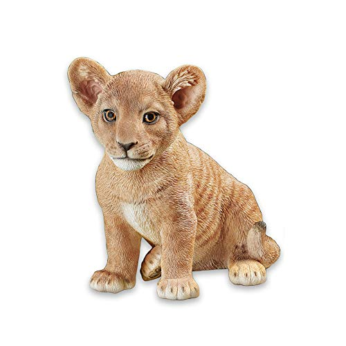 Collections Etc Lion Cub Animal Garden Statues - Realistic Textured Hand-Painted Figurine for Yard or Any Room in Home