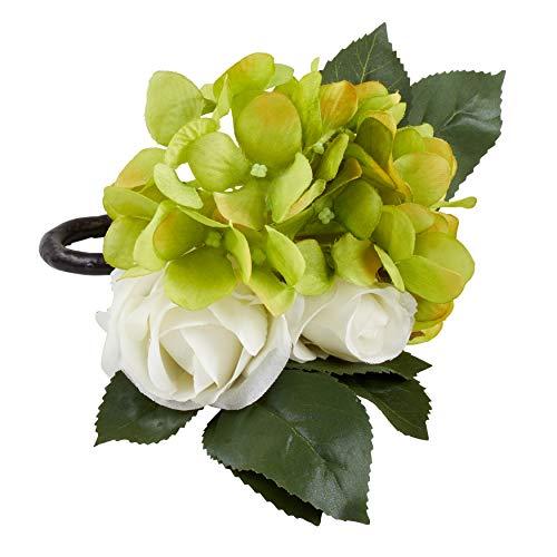 SARO LIFESTYLE NR429.W Collection Rose Hydrangea Napkin Rings (Set of 4), 6