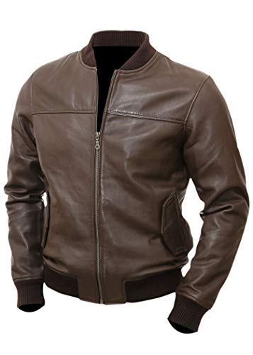 Varsity Bomber Leather Jacket Men | Genuine Lambskin Flight Military Tactical Jacket (Brown, - Flight Leather Mens Jacket