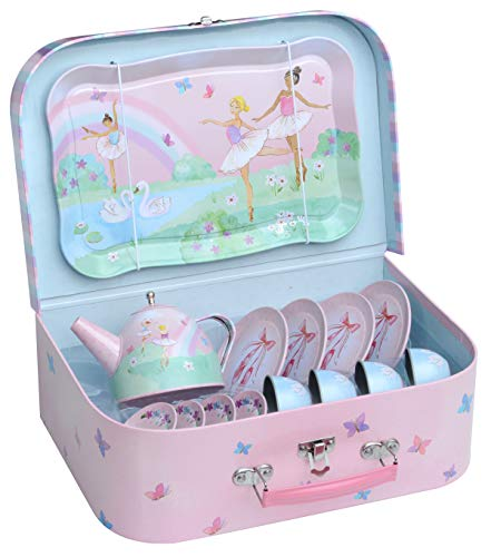 Jewelkeeper 15 Piece Girls Pretend Toy Tin Tea Set & Carrying Case - Ballerina Design