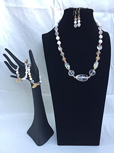 Crystal handmade gemstone jewelry set with a necklace, two bracelets and matching dangle earrings. Crystal and mixed gemstones. One of a kind by The Stonz Project