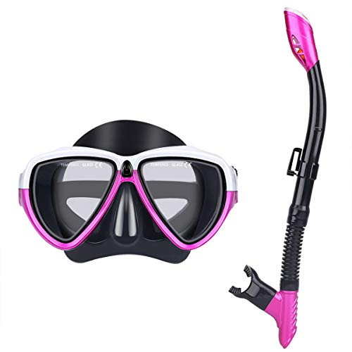 - mountop Dry Top Snorkel Set - Watertight & Anti-Fog Scuba Diving Mask, Impact Resistant Tempered Glass, Easy Adjustable Strap, Snorkeling Mask for Adult & Youth
