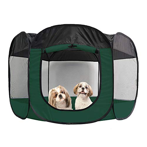 Furhaven Pet Playpen – Indoor-Outdoor Mesh Open-Air Playpen and Exercise Pen Tent House Playground for Dogs and Cats…