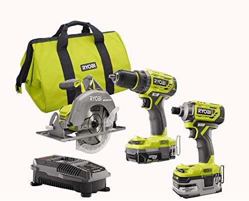 Ryobi P1837 18V One+ Cordless Brushless 3 Tool Combo Contractor Kit (9 pieces: Drill/Driver, Impact Driver, Circular Saw, 7-1/4 in Blade, Blade Wrench, Charger, 2.0 & 3.0 Ah Batteries, Bag)