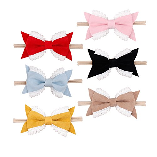 NCMAMA Baby Headbands Nylon Band With Pompom Suede Hairbows For Baby Girls Infant Toddlers Kids Pack of 6