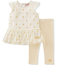Juicy Couture Baby Girls\' 2 Pieces Pants Set-Mesh Tunic, Vanilla/Gold, 24M