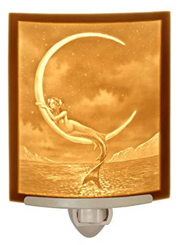 Mermaid and the Moon CURVED Porcelain Lithophane Nightlight