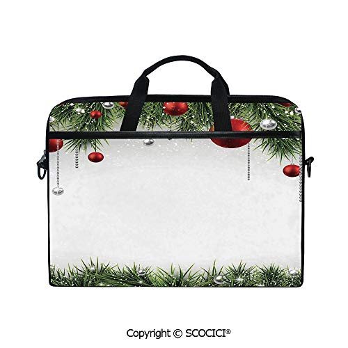 Personalized Laptop Bag 14-15 Inch Messenger Bag Classical Christmas Ornaments and Baubles Pine Tree Twig Tinsel Print Shoulder Sleeve Case Tablet Briefcase ()