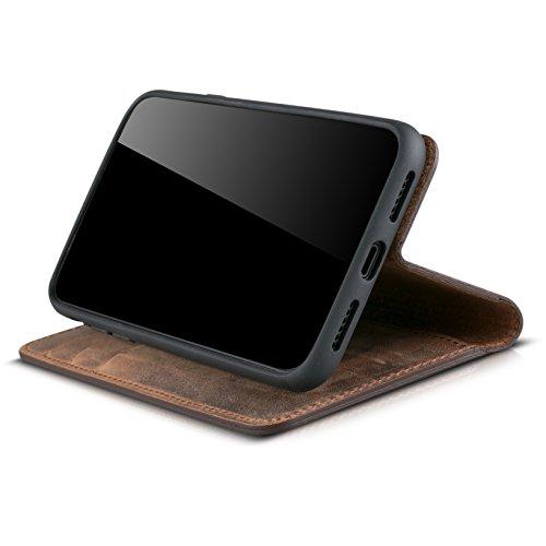 redmax vera pelle Custodia in pelle Custodia Book Case Cover Custodia con Scomparti per Carte di Credito e Funzione di supporto colore marrone antico per Apple Iphone X