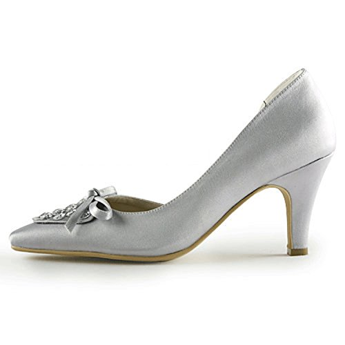Kevin Fashion MZ1206 Ladies D-orsay Silver Satin Bridal Wedding Formal Party Evening Prom Pumps Shoes 9.5 UK 3b1xalrI9