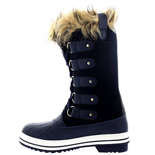 Polar Produkte Damen schnüren sich Gummisohle groß Winter Schnee Regen Schuh Stiefel Navy Wildleder