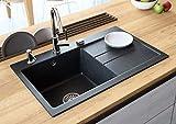 Black Kitchen Sink Lavello Luxor 100LT 31' Granite Sink Composite Single Bowl Big Range of Kitchen Sinks Drop In (Drainboard Postion: Right)