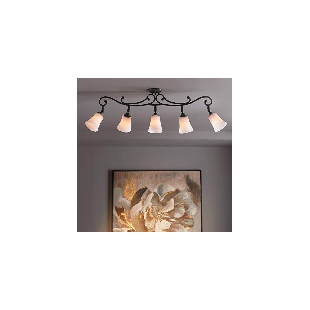 Leaf and Vine White Painted Glass 5-Light Track Fixture - Pro Track