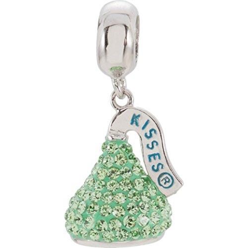HERSHEY'S Sterling Silver KISSES 3D Light Green Swarovski Crystal Dangle Charm