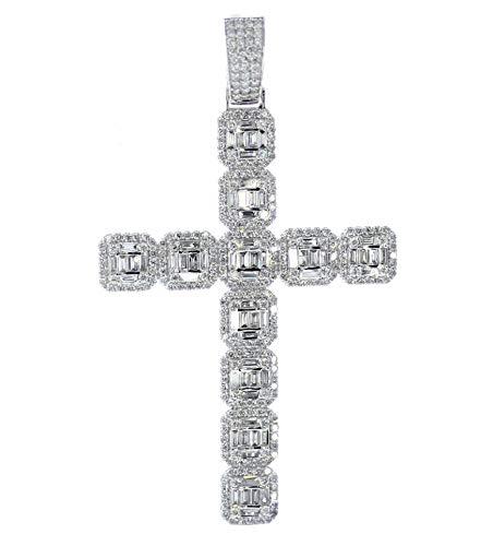 - Midwest Jewellery 14K Gold Baguette Diamond Cross Large Mens Cross Pendant 3.43ctw