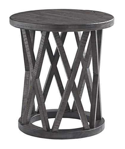 Signature Design by Ashley - Sharzane Round End Table, Grayish Brown (Office Desk Wood)