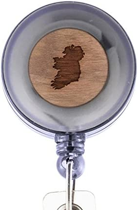 Laser Engraved Design Custom ID Holder MODERN GOODS SHOP Ireland Id Badge Holder Clip On Belt//Pocket Retractable ID Badge Holder Wooden ID Holder