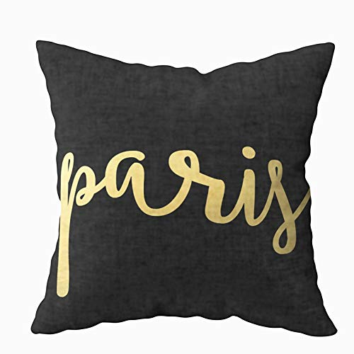 TOMWISH Hidden Zippered Pillowcase Paris Black and Gold Modern 18X18Inch,Decorative Throw Custom Cotton Pillow Case Cushion Cover for Home Sofas,bedrooms,Offices,and More Asian Inspired Wood Bench