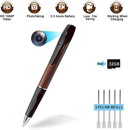 Hidden Camera Spy Camera Spy Pen LKcare 1080p HD Spy Camera Pen 2.5 Hours Video Taking Battery Life with 32GB Memory for Business Conference and Security (Pen Video Camera 1080p)