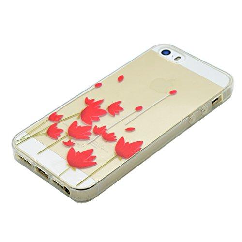 Hülle iPhone SE 5 / 5S, IJIA Ultra Dünnen Rote Blumen TPU Weich Silikon Handyhülle Schutzhülle Handyhüllen Schale Cover Case Tasche für Apple iPhone SE 5 / 5S + 24K Gold Aufkleber