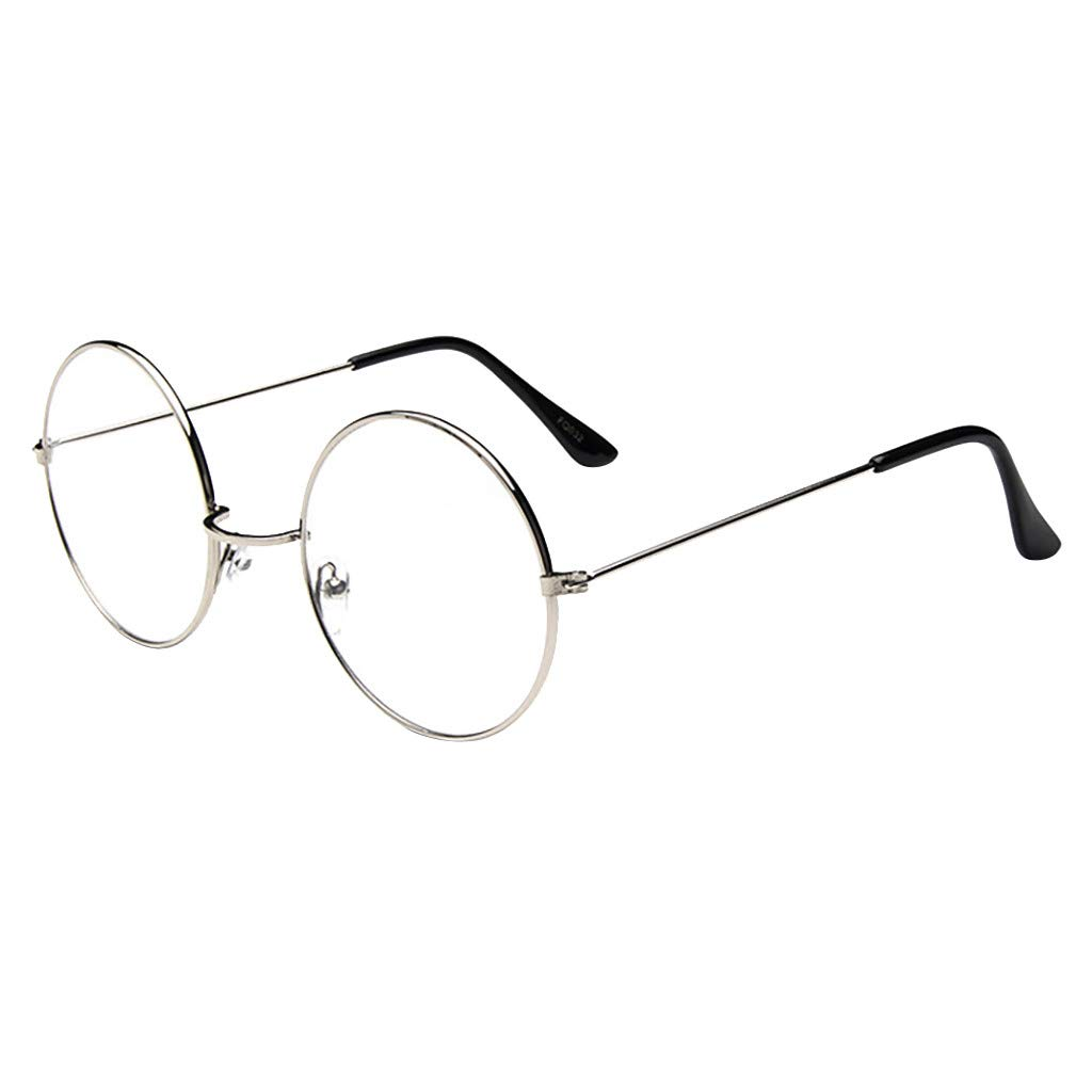 JYS Round Metal Clear Lens Glasses Frame Unisex Circle Hipster Metal Fram Eyeglasses Non-Prescription Eye Glasses Unisex