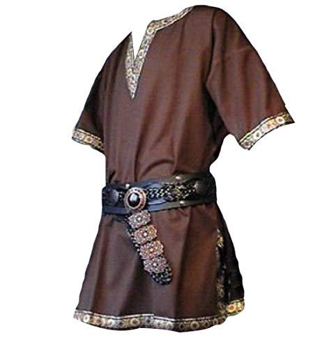 Abetteric Mens Short Sleeve Plus Size Medieval Top V Neck Costume Simple T-Shirts 4XL