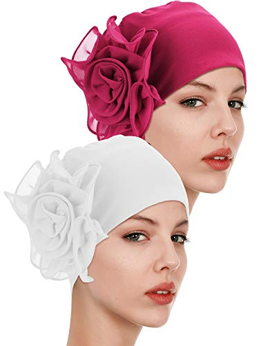 Vintage Girls Cap - 2 Pieces Chemo Turban Hats Flower Turban Hats Stretchy Ladies Turban Brim Cap Pile Vintage Turban Cap for Women Girls (Color 8)