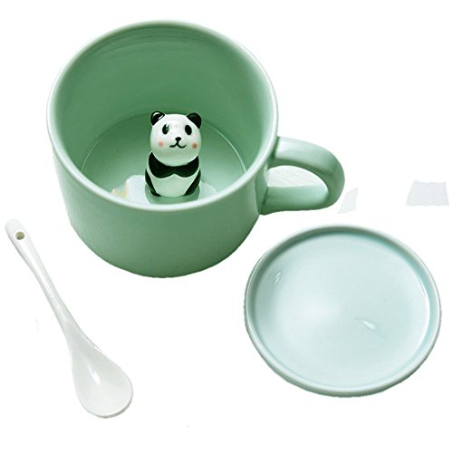 Brandon Trollpoe 7.85 Oz 3D Animal Hidden Panda Coffee Cup Mug with Lid Cover (Panda) by Brandon Trollpoe