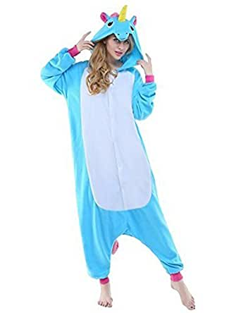 LATH.PIN Animal Carnaval Disfraz Cosplay Pijamas Adultos Unisex Ropa De Noche S/M/L/XL (S, Azul Unicorn)