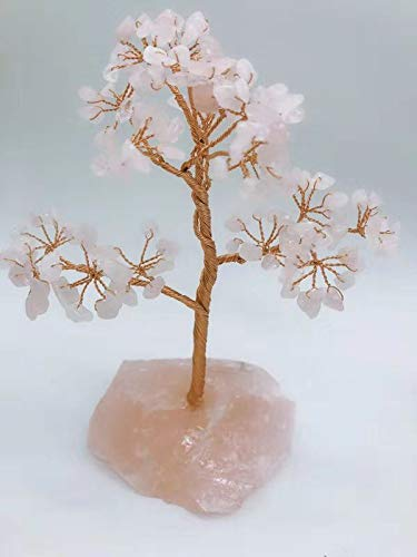 MOSOAO Natural Rock Pink Quartz Stone Crystal Tree for Good Luck, Wealth & Prosperity-Home Office Table Decor