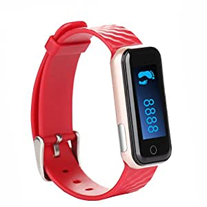 Ocamo QS50 Bluetooth Smart Watch, Sports Watch Bracelet, Sleep Monitor Pedometer Smart Fitness Tracker Wristband for Android smartphones and iPhone Red