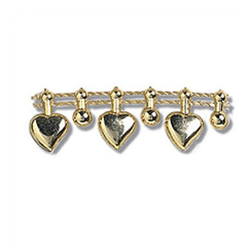 Impex, Herz mit Perlen, 12 mm, goldfarben, Meterware