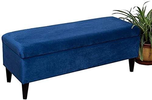 QQXX Otomana de Tela, Caja de Almacenamiento, reposapiés Toy Box, Patas de Madera Maciza (Azul) (tamaño: 60 cm): Amazon.es: Hogar