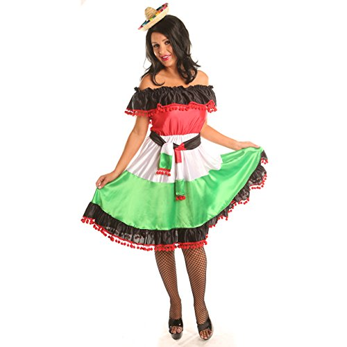 Disiao Sassy Mexican Style Costume Dress for Women Halloween Christmas Party (Mexican Woman Costumes)