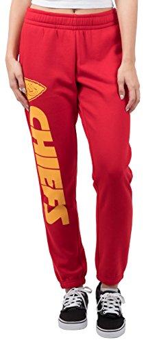 NFL Women's Kansas City Chiefs Jogger Pants Relax Fit Fleece Sweatpants, Large, Red