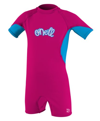 O'Neill Wetsuits Girl's O'Zone Toddler Spring Rash Guard Shirt, Watermelon/Tahiti/Lunar, 2