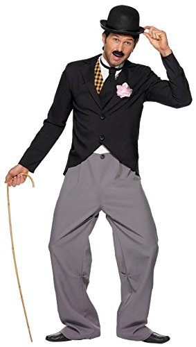 Charlie Chaplin Costume Kids (Smiffy's Men's 1920's Star Costume with Jacket Trousers Mock Waistcoat and Tie, Multi, Large)