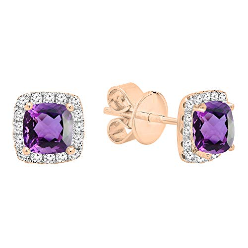 Dazzlingrock Collection 18K Each 4 MM Cushion Amethyst & Round White Diamond Ladies Halo Stud Earrings, Rose Gold