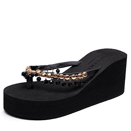 Grigio Rilievo Haizhen Marrone Estate black Pantofole Scarpe Di Per skid In 7cm Spesse Da Handmade Sfera Beige Semplici Anti Donne Le Donna nero pnwqwTfzC